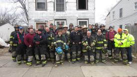 City of Hudson volunteers in front of 225 State Street following the January 3rd drill.