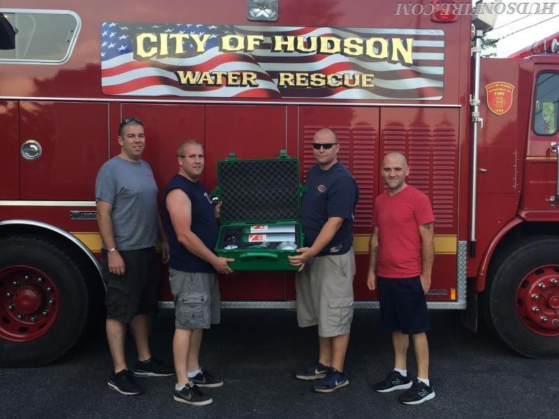 L to R: 2nd Asst. Chief/Diver Nicolas Pierro, Director of Water Rescue Services/Diver Dan Hickey Jr, Lt./Diver Justin Elliott, Captain/Diver John Gambino were on hand to place the new oxygen kit into service.