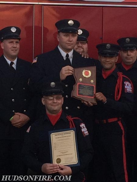 "Firefighter/Rescue Diver Mark Graziano (kneeling) and members of the City of Hudson Fire Dept Water Rescue Team received the ""Firefighter of the Year Award"" at the 2016 C.C.V.F.A. Convention."