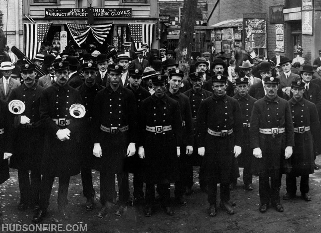 H. W. Rogers Hose Company, No. 2 firefighters at a parade in the late 1800s.
