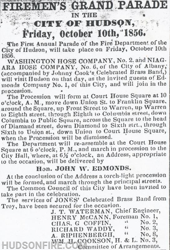 "The article in the October 7, 1856 issue of the Columbia Republican announcing the first Hudson ""Firemen's Grand Parade"". Firefighter's from the City of Hudson's ALL VOLUNTEER Fire Department have proudly been marching every year since 1856."